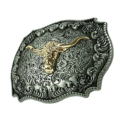 MagiDeal Boucle de Ceinture Vintage gravé Tête de Bœuf d'Or Mode Cowboy Charme Bijoux Pour Homme