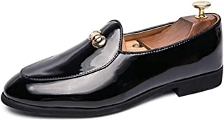 Fashion Patent Oxford Shoes Men PU Leather Business Dress Banquet Dating Loafers Two Tones Slip-on Flat Anti-Slip Shoes Men's Boots (Color : Black, Size : 5.5 UK)