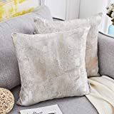 NeatBlanc Jacquard Abstract Decorative Throw Pillow Cover Luxury Pillow Case Cushion Cover 18 x 18 inches 45 x 45 cm for Couch Bed Car Office (Silver/Beige/Gray - 2 Pack, 18 x 18)