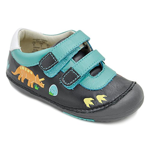 Momo Baby Boys First Walker Toddler Dinosaur Leather Sneaker Shoes - 6 Black/Teal