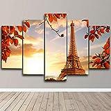 CXHFDC Impresiones en Lienzo Eiffel Tower Paris Autumn Póster 5 Paneles Pintura Mural de la Pared La Imagen para casa Moderno Decoración Imprimir decoración-60x32inch