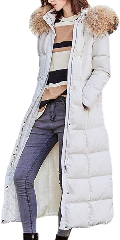 LKCENCA Women's Puffer Casual Long Down Faux Fur Hood Removable Coat