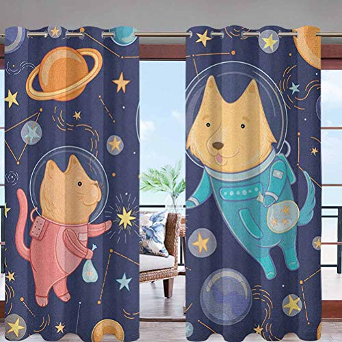 Grommet Blackout Drape Shade Blind Curtain Panel Cartoon Dog and Cat Floating W96 x L96 for Patio, Pergola, Porch, Deck, Lanai, and Cabana