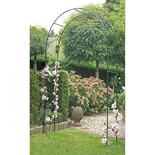 Arco para rosas 140 x 240 x 37 cm en verde oscuro - Arco para enredaderas con elementos de acero estables