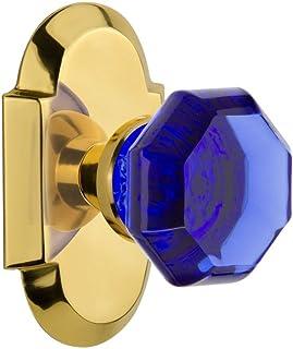 Nostalgic Warehouse 724272 Cottage Plate Privacy Waldorf Cobalt Door Knob in Polished Brass, 2.375