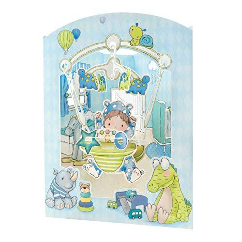 Baby Boy Swing Card - Santoro 3D Pop-Up Greeting & Newborn Card for Him & Her