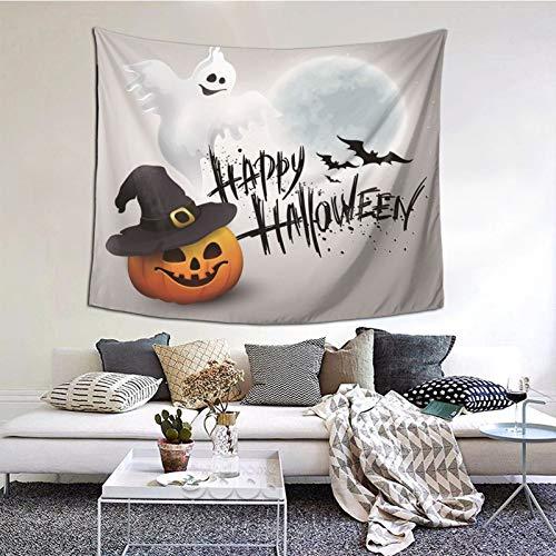 kThrones Tapiz de Pared,Feliz Halloween Scary Pumpkin White Ghost Tapestry (Colgante de Pared) Decoración de Pared Mural del hogar para Dormitorio Sala de Estar 203cmx152cm