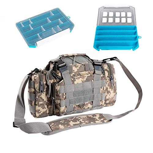 Tackle Storage,Tackle Bag With Boxes,Fishing Bags With Tackle Boxes, Comes With Two Combined Fishing Tackle Boxes, Waterproof And Wear-Resistant Bags For Cycling, Hiking And Outdoor Fishing