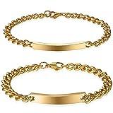 JewelryWe - 2 bracciali lucidi, in acciaio inossidabile, uomo e donna, personalizzabili, colore: Argento / Oro e Acciaio inossidabile, colore: Oro + senza incisione., cod. JW89P10004FBA