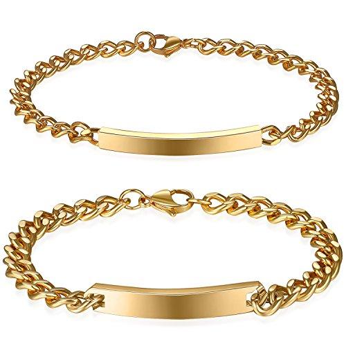 JewelryWe Schmuck 2pcs Herren Damen Armband, Lieben Freundschaftsarmband, Glänzend Poliert, Edelstahl, Gold, mit kostenlos Gravur