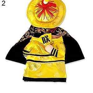 Feli546Bruce Vêtement pour Animal Domestique Halloween Chien Chat Empereur Chinois Costume Cosplay Accessoires pour Chien