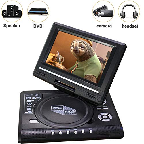 Xytton 7-Inch Portable DVD Player, 270-Degree Rotating Screen, Long Standby, Power Off, Breakpoint Memory Playback, Free AV Input/Output USB/SD/MMC Playback