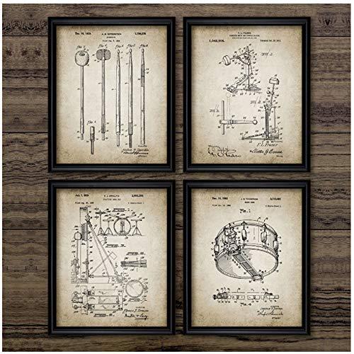 NO BRAND Pintura de Lienzo Batería Kit Patentes Carteles Antiguos Imprimir Baqueta Música Tambor Diseño Arte de la Pared Fotos Idea de Regalo del Baterista 40x50cm (15.7