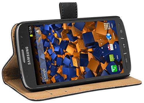 mumbi Echt Leder Bookstyle Case kompatibel mit Samsung Galaxy S4 Active Hülle Leder Tasche Case Wallet, schwarz
