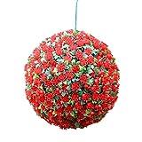 Simulation Garden Colgante Artificial del boj Buxus Funcionan con energía Solar Bolas de Hierba - Boda - Decoración de Navidad 28cm,Rojo