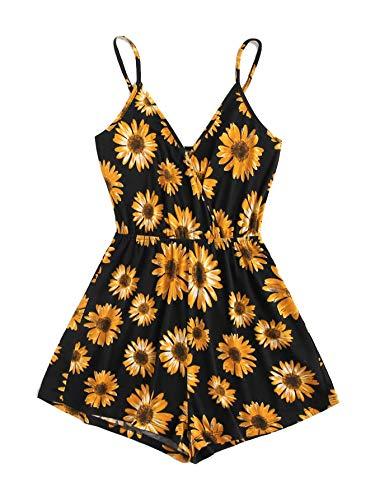 MakeMeChic Women's Sleeveless High Waist Sunflower Print Strap Cami Romper Jumpsuit Sunflower Small