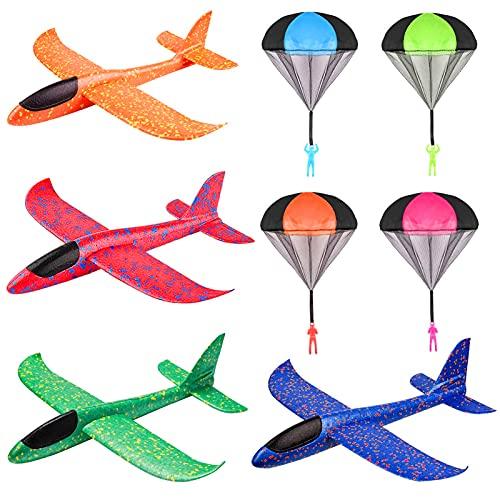 Sunshine smile 4 Stück Segelflugzeug,4 Fallschirm Kinder,Kinder Schaum Flugzeug,Flugzeug Spielzeug,Manuelles Werfen Flugzeug,Flugzeuge Modell,Outdoor Sport Spiel Spielzeug,Segelflugzeug Kinder