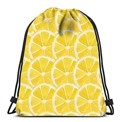 JDHFJ Bolsa con cordón Drawstring Backpack Lemon Bright Watercolor Durable for Carrying Around