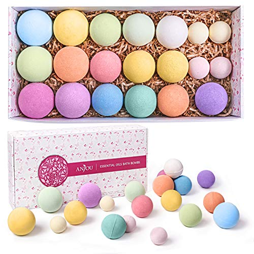 Bath Bombs Gift Set, Anjou 20 Pack Natural Essential Oils Spa Bath Fizzies for Moisturizing Dry Skin, Christmas Gift Kit Ideas for Women, Kids, Girlfriend, Moms