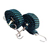 Multi-Purpose adjustable Bungee cords, with length adjustable metal buckle baggage elastic rope, to adapt to a wide range of uses. For Moving Heavy Duty Cargo (2 Pack Blue black). (40 inch)
