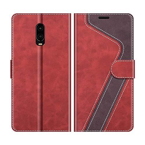 MOBESV Handyhülle für Oneplus 6T Hülle Leder, Oneplus 6T Klapphülle Handytasche Case für Oneplus 6T Handy Hüllen, Rot