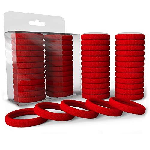Levani 50er Haargummi Set - Hochwertige Haargummis aus Baumwolle - Zopfgummi für Männer und Frauen - Haar Gummibänder - 50 Stück, Rot