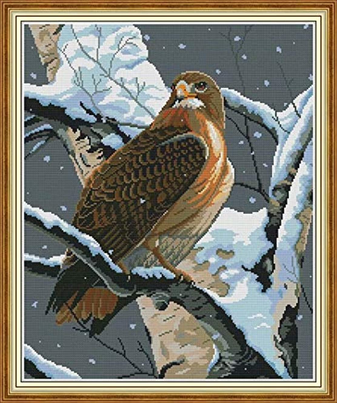 Joy Sunday Cross Stitch Kit 14CT Stamped Embroidery Kits Precise Printed Needlework - The Falcon in The Tree 43×50CM
