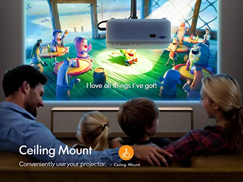 APEMAN Mini Projector, 1080P Supported, 200'' Display 60000 Hrs Lamp Life Portable Video Projector, Compatible with HDMI, PS4, TV Stick, VGA, TF, AV, USB Drive, Carry Bag and Screen Included