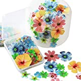 Edible Cupcake Toppers 70pcs Flowers cake decorations edible Wedding Cake Birthday Party Food Decoration Mixed Size & Colour for Flowers party decorations