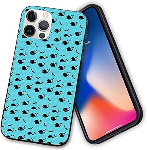 Funda compatible con iPhone 12 Series, abstracta azul mar con pequeñas olas sonriendo natación buceo peces con aletas acuáticas, protección completa para iPhone 12 Pro max-6.7 pulgadas