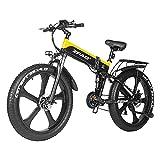 SAWOO 48V 1000W Bicicleta de montaña eléctrica 26 Pulgadas Neumático Grueso Bicicleta eléctrica Beach Cruiser Bicicleta de montaña Deportiva para Hombres LG 12.8ah Batería de Litio (Amarillo)
