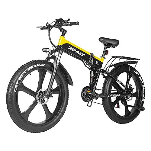 SAWOO 48V 1000W Bicicleta de montaña eléctrica 26 Pulgadas Neumático Grueso Bicicleta...