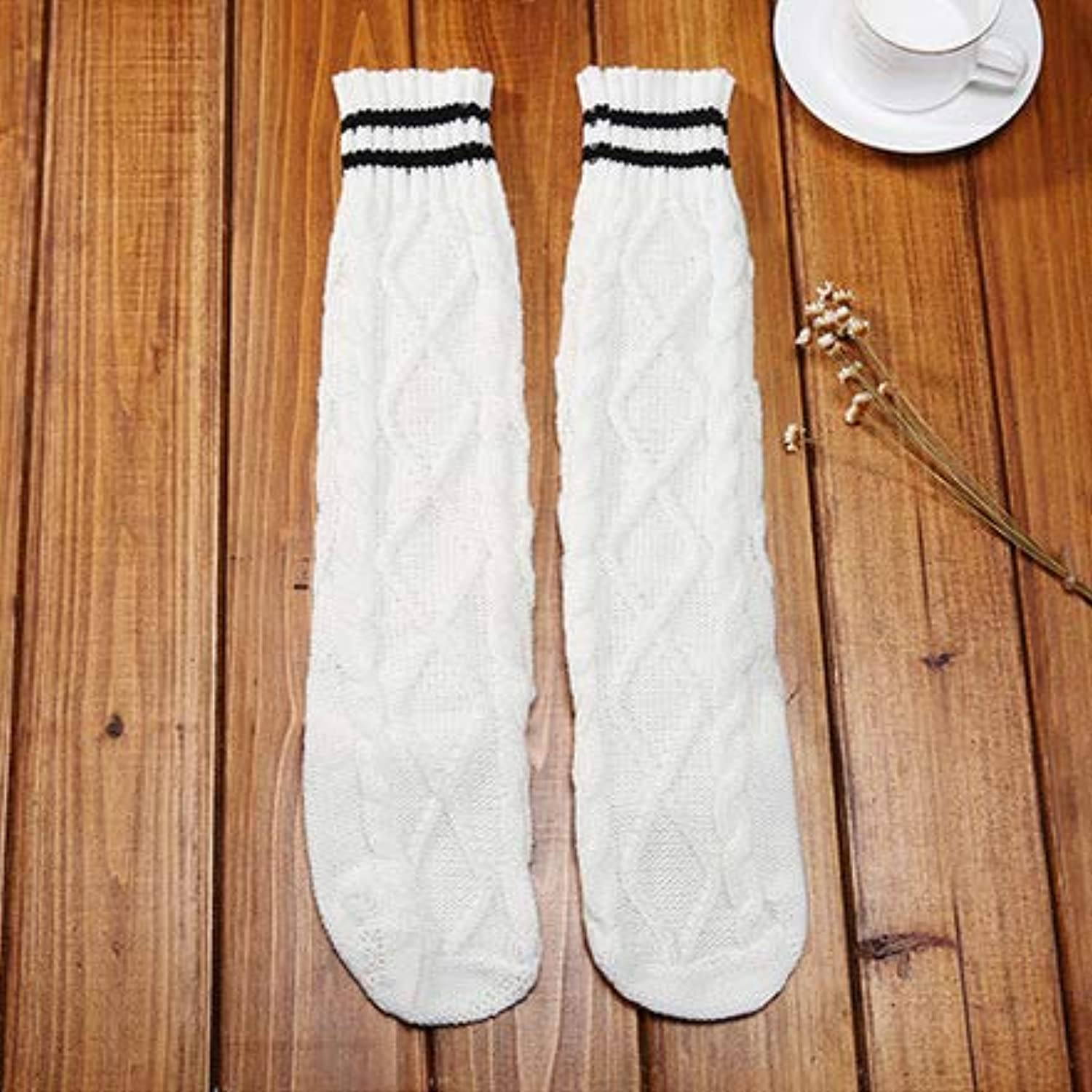 Comfortable Arm Warmer Leg Stocking Home Socks Autumn and Winter Thick Wool Floor Socks Striped Retro Warm Pile heap Korean Tube Female Boots Socks (color   White)