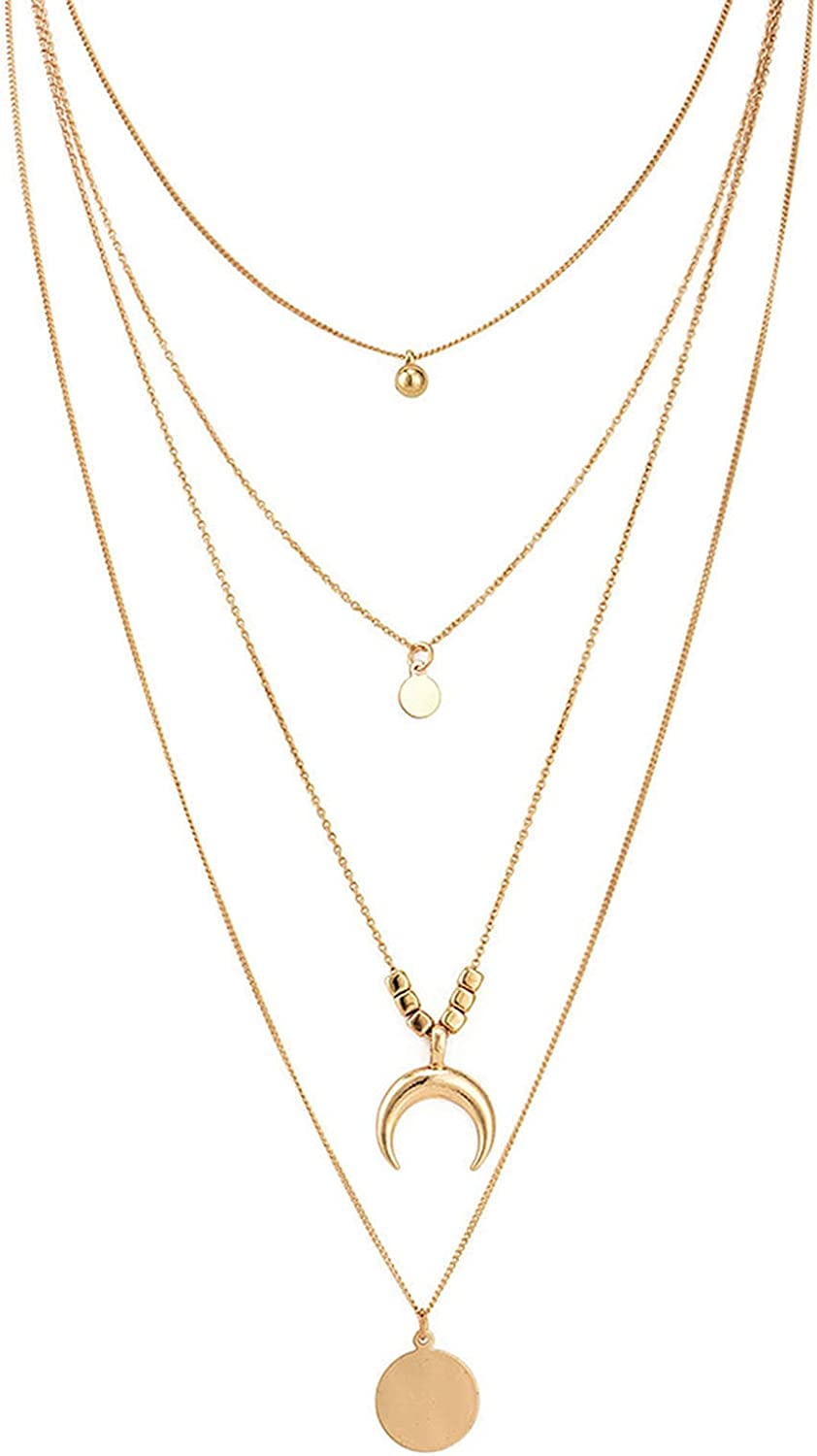 Dainty Necklace for Women,Multilayer Simple Moon Star Sun Coin Pendant Chain Clavicle Necklace Jewelry Accessory Jewelry Accessories for Teen Girls