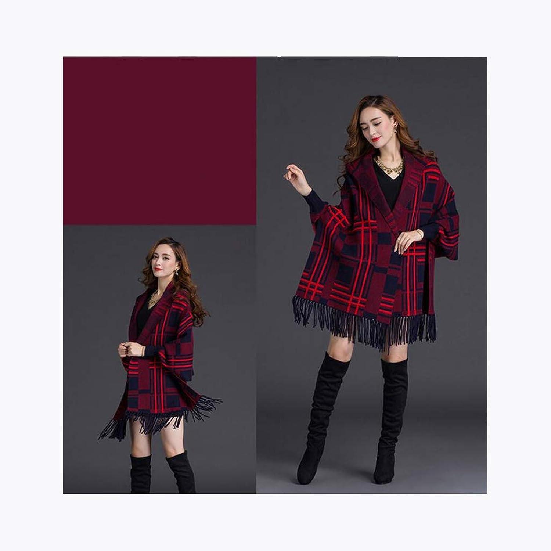 JUN Winter New Shawl Scarf Dualuse Female Thick Warm Hooded Cloak Korean Tassel Cloak Jacket (color   D)