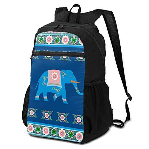 Lesif Sac à dos pliable ultra léger pour randonnée, voyage, camping (motif indien, éléphant hindou traditionnel)