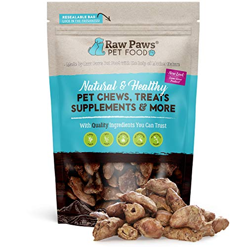 Raw Paws Pet Freeze Dried Chicken Hearts for Dogs & Cats, 4-oz - Human-Grade, Chicken Dog Treats Made in USA Only - Single Ingredient & Preservative Free Raw Freeze Dried Chicken Treats
