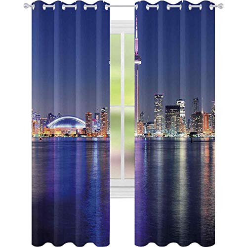 Window Curtain Blackout Curtain, Canada Toronto Sunset Over The Lake Panorama Urban City Skyline with Night Lights, W52 x L84 Print Curtains for Bedroom/Living Room, Blue Pink Peach