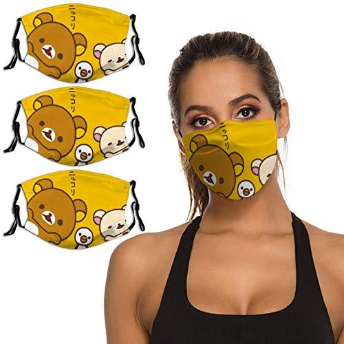 Nuberyl Brown Bear Rila-kuma - Pasamontañas unisex con diseño de pollo, transpirable, reutilizable, protección UV, paquete de 3 polainas para el cuello