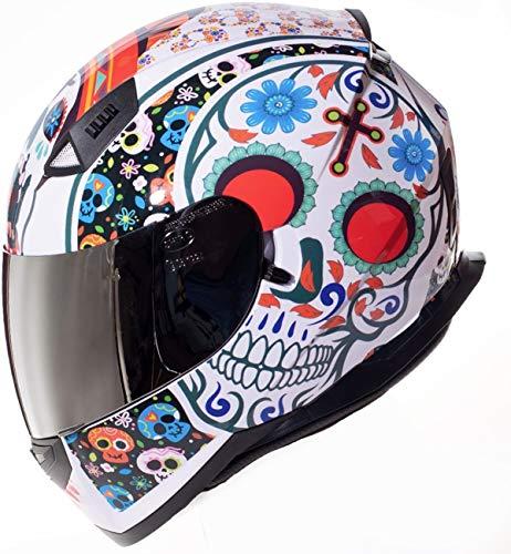 Shiro Casco Moto Integral ECE Homologado CASCO SH 881 MEXKULL BLANCO PERLADO EDICION LIMITADA (M) para Mujer Hombre Adultos con Doble Visera