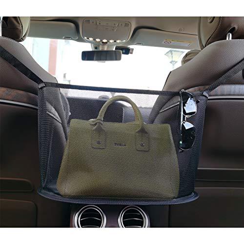 Fekey&JF Car Net Pocket Handbag Holder,Car Seat Back Organizer Mesh Large Capacity Bag for Purse Storage Phone Documents Pocket,Barrier of Backseat Pet Kids,Cargo Tissue Holder (Black-1)
