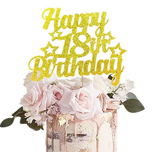 JeVenis Gold Glitter Happy 18. Geburtstagstorte Topper 18 Geburtstagstorte Topper 18. Geburtstagstorte Dekoration