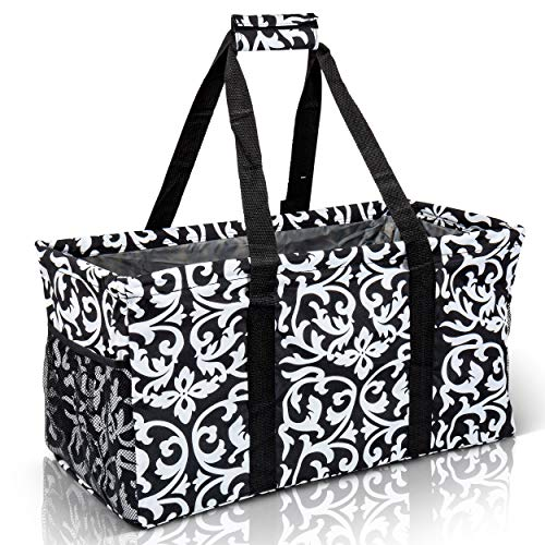 Extra Large Utility Tote Bag - Oversized Collapsible Reusable Wire Frame Rectangular Canvas Basket With Two Exterior Pockets For Beach, Pool, Laundry, Car Trunk, Storage - Damask Black