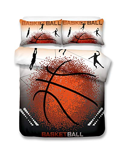 Funda nórdica El baloncesto Ropa de cama Set - funda nórdica y funda de almohada, Ropa de cama Conjunto 3 piezas (funda nórdica + 2 fundas de almohada) Soltero Doble Funda nórdica (C,Single-135x210cm)
