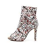 HROYL Zapatos de Baile Latino Mujer Zapatos de Baile Latino Tango Salsa y Bachata Botas de Baile Flamenco,QJW1015-5-Blanco,EU36.5