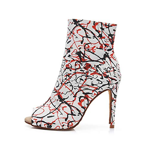 SWDZM Zapatos de Baile Latino para Mujer Suede-Sole de Salón Tango Salsa Evening Wedding Zapatos de Baile,Heel-8.5CM,Model-QJW1015,Blanco, 42 EU