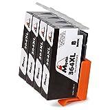 Mipelo 364 XL (4 Nero) Sostituzione per HP 364 364XL Cartucce d'inchiostro,Compatibile per HP Officejet 4620 4622, HP Photosmart 7520 6520 5520 5510 6510 7510 B110a B8550,HP Deskjet 3520 3070A 3524