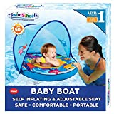 SwimSchool Self-Inflating Super Buoyant, Baby Boat Pool Float, Splash & Play Activity Center, Removable Sun Canopy, UPF 50, Adjustable Safety Seat, 6 to 24 Months, Blue/White