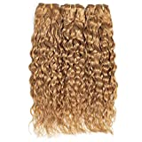 FASHION LADY Color 27 Honey Blonde Wet and Wavy Hair Bundles Real Human Hair Water Wave Human Hair Extensions(12 14 16 Inch,Color 27)
