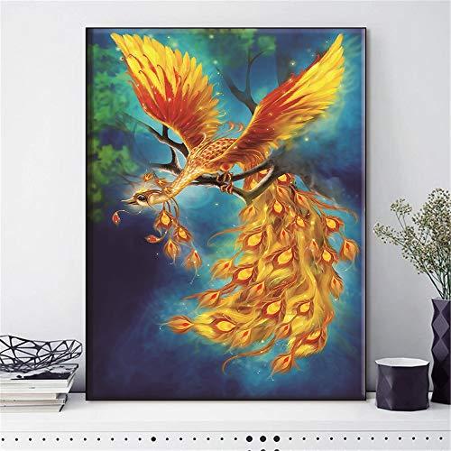 Set da Ricamo a Punto Croce Phoenix Animale Uccello Needlework for i Kit Completo Bianco della Tela di Canapa Fai da Te Home Decor 14CT 40x50cm DIY Punto Croce (Size : 40x50cm)